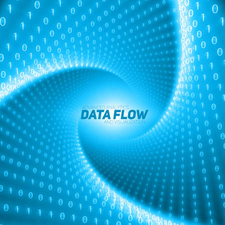big screen: Vector data flow visualization. Blue flow of big data as binary numbers strings twisted in tunnel. Information code representation. Cryptographic analysis. Bitcoin blockchain transfer. Stream of code Illustration