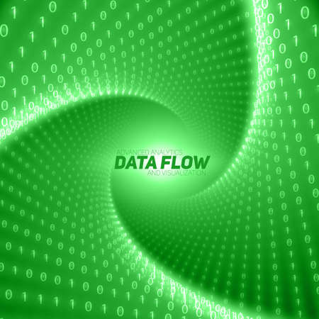Vector data flow visualization. Green flow of big data as binary numbers strings twisted in tunnel. Information code representation. Cryptographic analysis. Bitcoin blockchain transfer. Stream of code