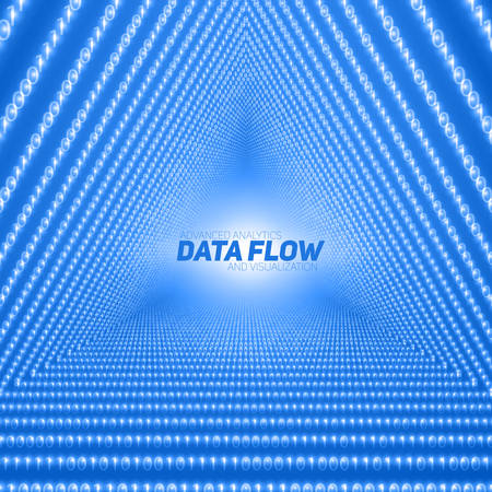 Vector data flow visualization. Triangle tunnel of blue big data flow as binary numbers strings. Information code representation. Cryptographic analysis. Bitcoin blockchain transfer. Stream of code Illustration