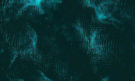 Vector abstract big data visualization. Cyan glowing data flow as binary numbers. Computer code representation. Cryptographic analysis, hacking. Bitcoin, blockchain transfer. Pattern of program code
