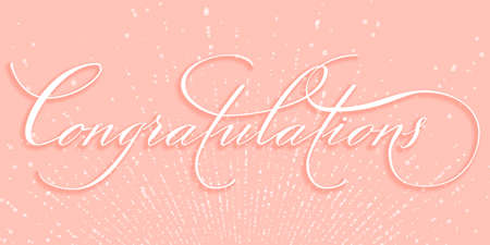 Hand drawn lettering Congratulations. Elegant modern handwritten calligraphy. Vector Ink illustration. Typography poster on pink background with blast of sparkles. For cards, invitations, prints etc