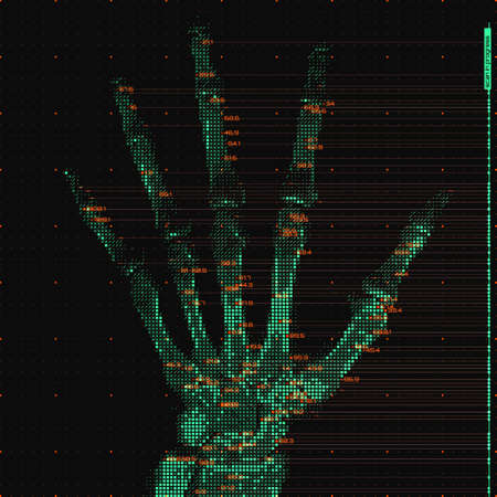 Vector green abstract hand tomography analysis illustration. Digital palm x-ray scan. Medical data MRI visualization concept. Futuristic healthcare software HUD UI. Data driven image. Human hand