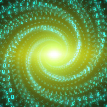 Vector data flow visualization. Green big data flow as binary numbers strings twisted in infinity tunnel. Information code stream representation. Cryptographic analysis. Bitcoin blockchain transfer.