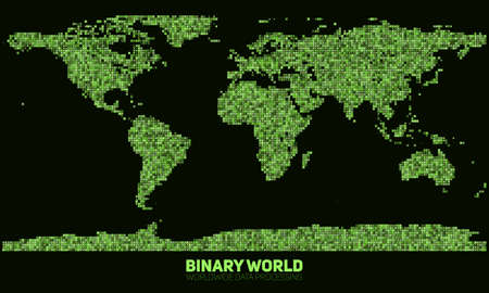 Vector abstract binary world map. Continents constructed from green binary numbers. Global information network. Worldwide network. International data. Digital world in modern cyber reality. Illustration