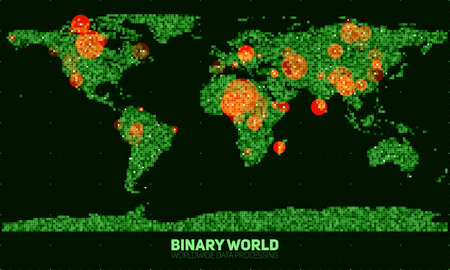 encode: Vector abstract binary world map. Continents constructed from green binary numbers. Global information network. Worldwide network. International data. Highlighted points of interest on the map.