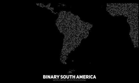 0 geography: Vector abstract binary South America map. Continents constructed from binary numbers. Global information network. Worldwide network. International data. Digital world in modern cyber reality.