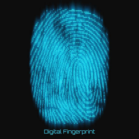 Vector abstract binary representation of fingerprint. Cyber thumbprint blue pattern composed of numbers with glow. Biometric identity verification. Futuristic sensor scan image. Digital dactylogram.