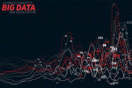 information design: Vector abstract colorful financial big data graph visualization. Futuristic infographics aesthetic design. Visual information complexity. Illustration