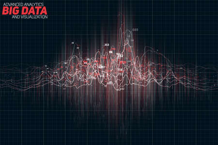 Vector abstract colorful financial big data graph visualization. Futuristic infographics aesthetic design. Visual information complexity.  イラスト・ベクター素材