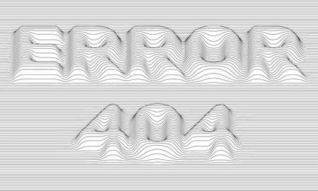 oscillation: Error 404. Vector striped background. Abstract grayscale waves. Sound wave oscillation. Funky curled lines.