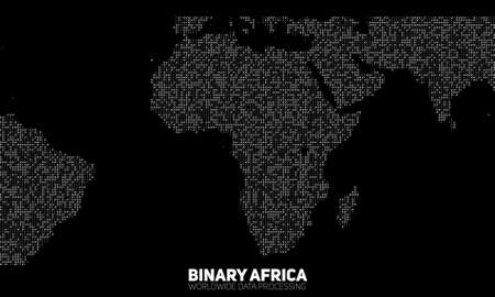 bytes: Vector abstract binary Africa map. Continents constructed from binary numbers. Global information network.