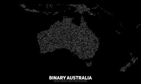 chaotically: Vector abstract binary Australia map. Continents constructed from binary numbers. Global information network. Illustration
