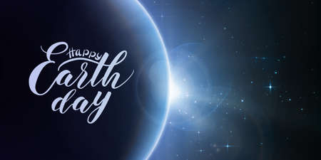 sun: Happy Earth Day lettering on abstract vector blue background with planet and eclipse of sun. Sun shine from the edge of a earth.