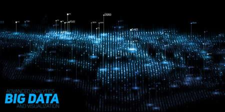 Visualisation de gros vecteur 3D abstrait 3D. Conception esthétique de l'infographie futuriste. Complexité de l'information visuelle Graphique de fils de données complexes. Représentation de réseau social ou d'analyse commerciale