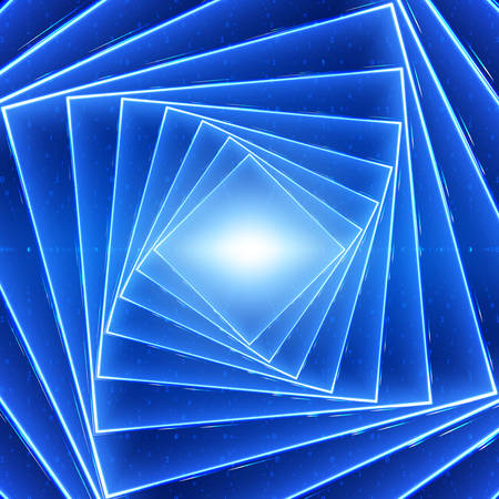 Vector data flow visualization. Square twisted glowing tunnel of blue big data flow as binary strings. Cyber world of code. Illustration