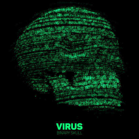 Vector skull constructed with green binary code.
