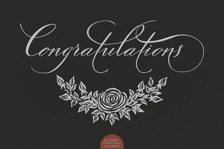 Hand drawn lettering Congratulations. Elegant modern handwritten calligraphy with floral element. Typography poster on dark background. For cards, invitations, prints etc.