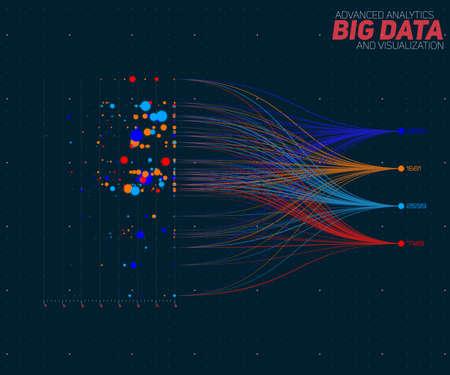 Vector abstracte kleurrijke grote data informatie sorteer visualisatie. Sociaal netwerk, financiële analyse van complexe databases. Visuele informatie complexiteit verduidelijking. Ingewikkelde data grafische
