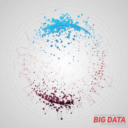 Vector abstract round big data visualization. Futuristic infographics design. Visual information complexity. Intricate data threads graphic. Social network or business analytics representation