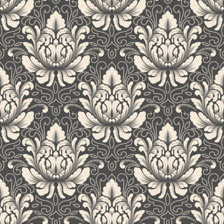foliate: Vector damask seamless pattern background. Classical luxury old fashioned damask ornament, royal victorian seamless texture for wallpapers, textile, wrapping. Exquisite floral baroque template Illustration