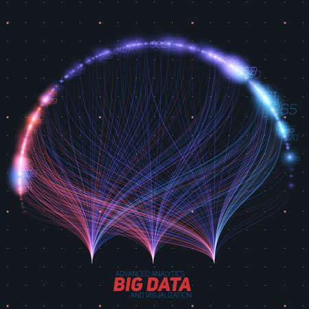 Vector resumen colorido grandes datos información clasificación visualización. Red social, análisis financiero de bases de datos complejas. Clarificación de la complejidad de la información visual. Gráfico de datos intrincados