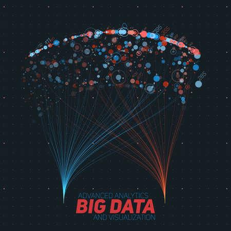 벡터 추상 다채로운 큰 데이터 정보 시각화를 정렬합니다. 소셜 네트워크, 복잡한 데이터베이스의 재무 분석. 시각 정보 복잡성 해명. 복잡한 데이터  일러스트