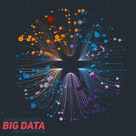 시각화를 정렬하는 벡터 추상 다채로운 큰 데이터 정보입니다. 소셜 네트워크, 복잡한 데이터베이스의 재무 분석. 시각 정보 복잡성 해명. 복잡한 데이