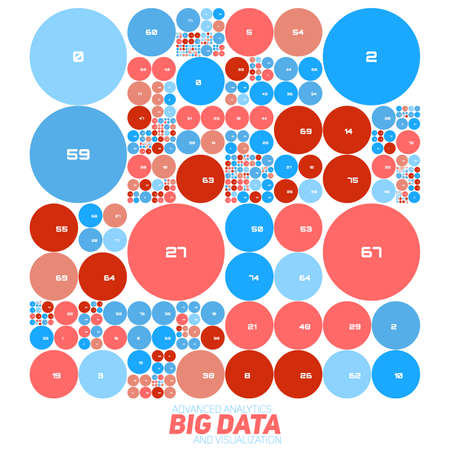 big screen: Vector abstract colorful financial big data graph visualization. Futuristic circles infographics aesthetic design. Visual information complexity. Intricate data threads chart. Business analytics.
