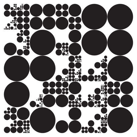generative: Subdivided circle grid system. Randomly sized spheres with fixed space between. Futuristic dot layout. Conceptual generative background. Procedural graphics. Creative coding.