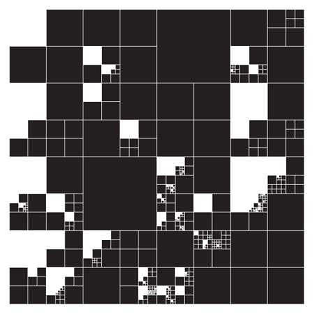세분화 된 사각형 격자 시스템. 사이에 고정 된 공간을 가진 랜덤 크기의 다각형. 미래의 레이아웃입니다. 개념적 생성 배경입니다. 절차 그래픽. 창조 일러스트