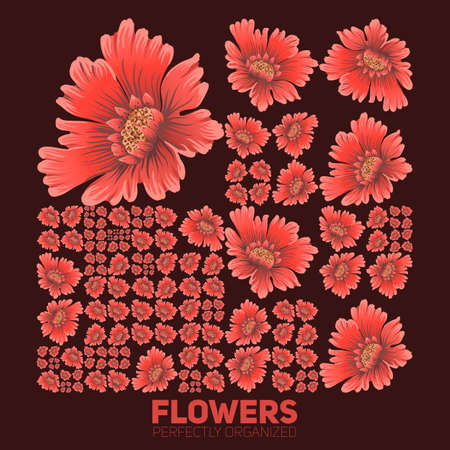 generative: Flowers organized perfectly. Vector flowers organized neatly by the grid. Conceptual floral generative background. Procedural graphics. Perfect order background.
