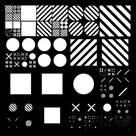 subdivided: Subdivided grid system with symbols. Randomly sized objects with fixed space between. Futuristic minimalistic layout. Conceptual generative background. Procedural graphics. Illustration