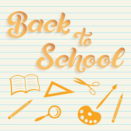 Hand drawn lettering - Back to school with icons of school items. Elegant modern handwritten calligraphy. Vector Ink illustration. For cards, invitations, prints etc