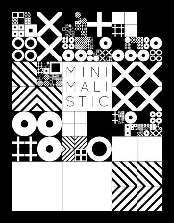 subdivided: Subdivided grid system with symbols. Randomly sized objects with fixed space between. Futuristic minimalistic monochrome layout. Conceptual generative background. Procedural graphics. Creative coding.