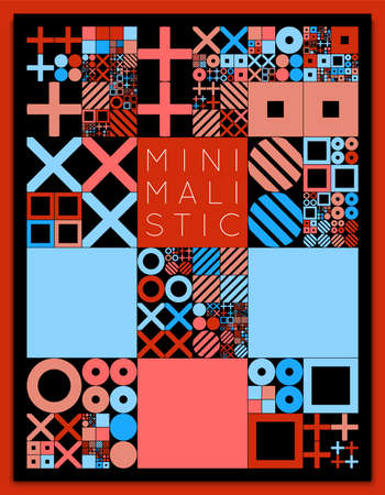 Subdivided grid system with symbols. Randomly sized objects with fixed space between. Futuristic minimalistic colorful layout. Conceptual generative background. Procedural graphics. Creative coding. Illustration