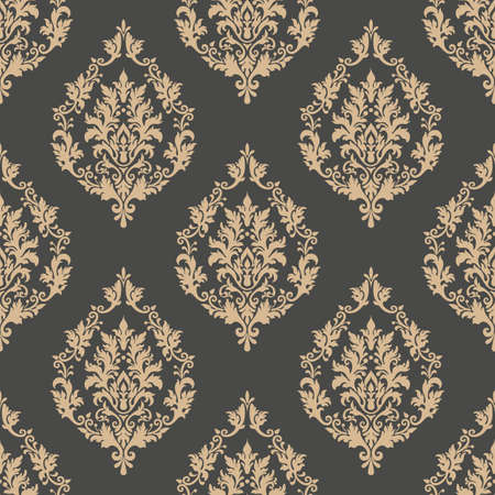 old fashioned: Vector damask seamless pattern background. Classical luxury old fashioned damask ornament, royal victorian seamless texture for wallpapers, textile, wrapping. Exquisite floral baroque template Illustration