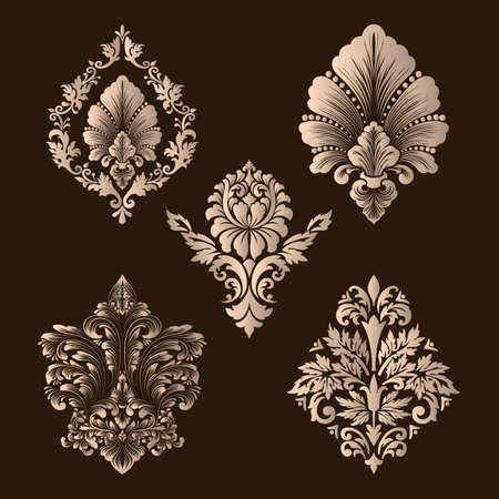 rococo: A Vector set of damask ornamental elements. Elegant floral abstract elements for design. Perfect for invitations, cards etc