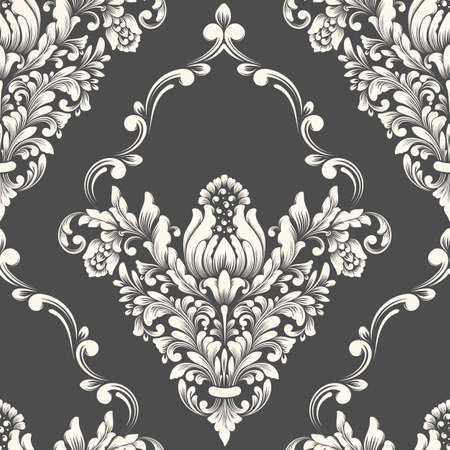 A Vector damask seamless pattern element. Classical luxury old fashioned damask ornament, royal victorian seamless texture for wallpapers, textile, wrapping. Exquisite floral baroque template.