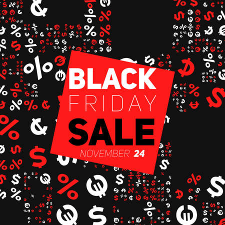 Badge with Black Friday Sale vector illustration. Background with randomly placed symbols of dollar, euro, percent, cent. Conceptual advertising design on dark background.