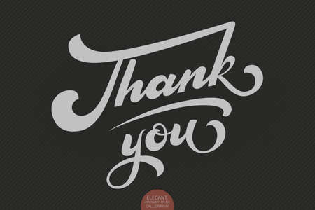 Hand drawn lettering Thank you. Elegant modern handwritten calligraphy. Vector Ink illustration. Typography poster on dark background. For cards, invitations, prints etc. Vectores