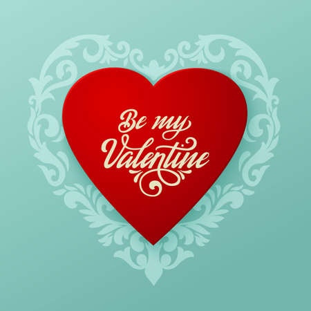 Happy Valentines day vector card. Big red heart with floral ornaments and elegant handwritten text Be My Valentine. Elegant and tender gift or invitation card. Reklamní fotografie - 92225125