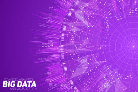 Purple Big data circular visualization. Futuristic infographic. Information aesthetic design. Visual data complexity. Complex data threads graphic. Social network representation. Abstract graph.