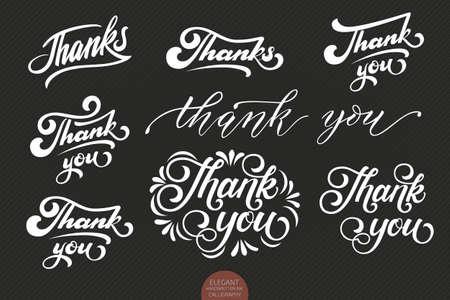 Set of hand drawn lettering Thanks. Elegant modern handwritten calligraphy. Vector Ink illustration. Typography poster on dark background. For cards, invitations, prints etc