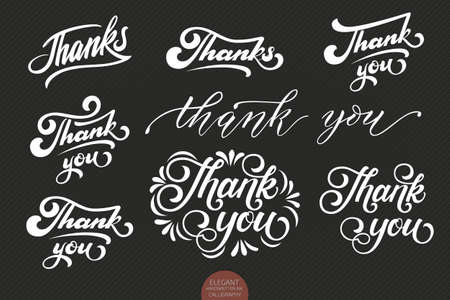 Set of hand drawn lettering Thanks. Elegant modern handwritten calligraphy. Vector Ink illustration. Typography poster on dark background. For cards, invitations, prints etc