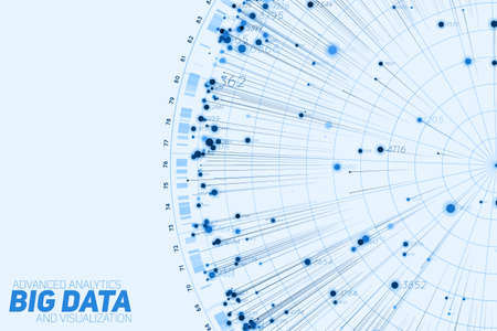 Blue Big data circular visualization. Futuristic infographic. Information aesthetic design. Visual data complexity. Complex data threads graphic. Social network representation. Abstract graph Vettoriali
