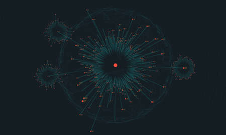 Big data circular visualization. Futuristic infographic. Information aesthetic design. Visual data complexity. Complex data threads analysis. Social network representation. Abstract business graph. Illustration