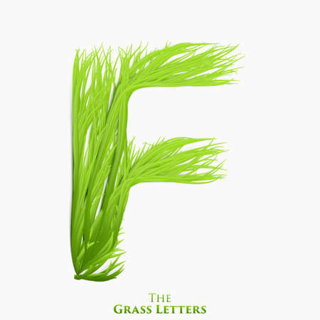 Vector letter F of juicy grass alphabet. Green F symbol consisting of growing grass. Realistic alphabet of organic plants. Spring and ecology typeset illustration.
