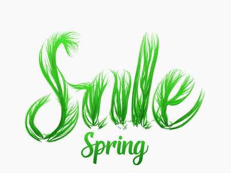 Spring sale vector concept with grassy letters. Spring green vibrant grass letters with shadows. Elegant abstract illustration for you promo campaign, flyer or card etc.