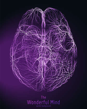 Vector violet illustration of 3d brain top with synapses and glowing neurons. Conceptual image of idea birth or artificial intelligence. Net of shiny lines forms brain structure. Futuristic mind scan Stock Illustratie