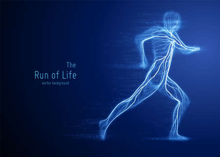 Vector running man constructed with blue lines and flowing particles. Concept of speed and progress in motion. Intricated human silhouette.